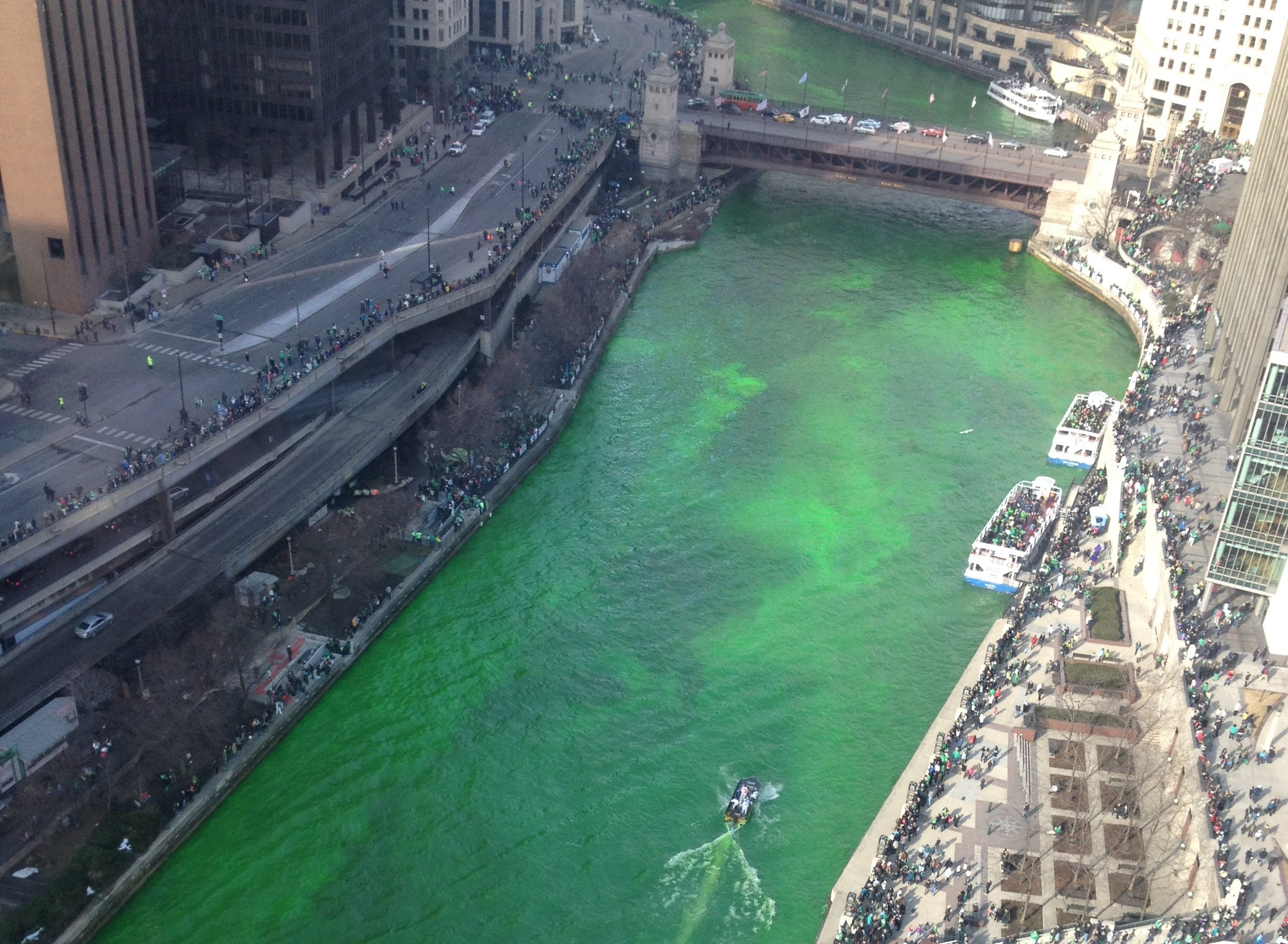 Aerial view of the Chicago River dyed green.