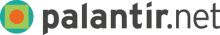 This is a logo for Palantir.net, showing a green square around an orange circle. The black text to the right of the logo says Palantir.net.
