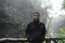 Rodrigo Espinoza in the rain forest